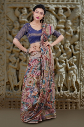 Natural Colour with Multi Thead Work Colour Kantha Stitched Saree Fabricated on Tassur Silk