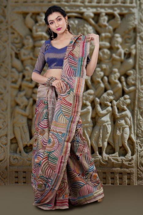 Natural Colour with Multi Thead Work Colour Kantha Stitched Saree Fabricated on Tassur Silk 1