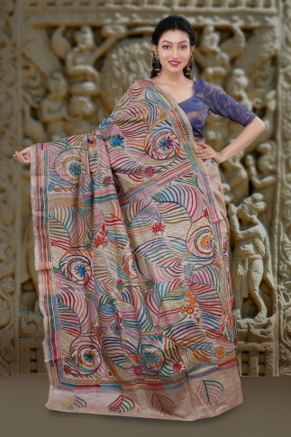 Natural Colour with Multi Thead Work Colour Kantha Stitched Saree Fabricated on Tassur Silk 2