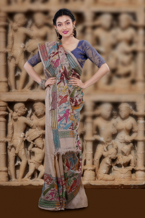 Natural Colour And Multi Thead Work Colour Kantha Stitched Saree Fabricated on Tassur Silk