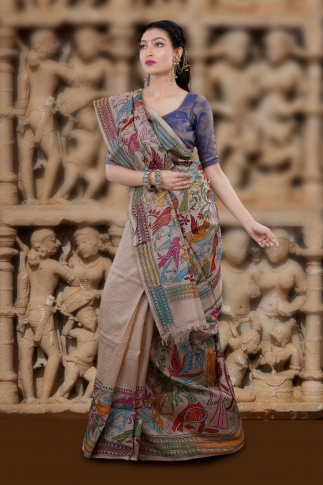 Natural Colour And Multi Thead Work Colour Kantha Stitched Saree Fabricated on Tassur Silk 1