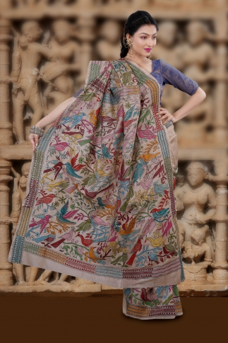 Natural Colour And Multi Thead Work Colour Kantha Stitched Saree Fabricated on Tassur Silk 2