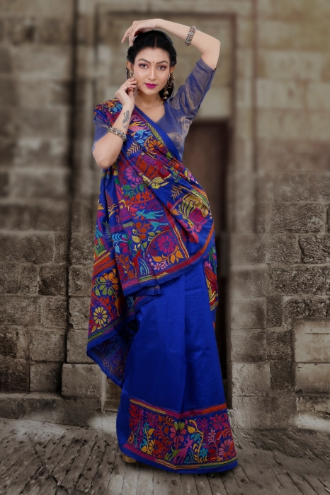 Pure Banglore Silk Royel Blue Kantha Stitched Saree