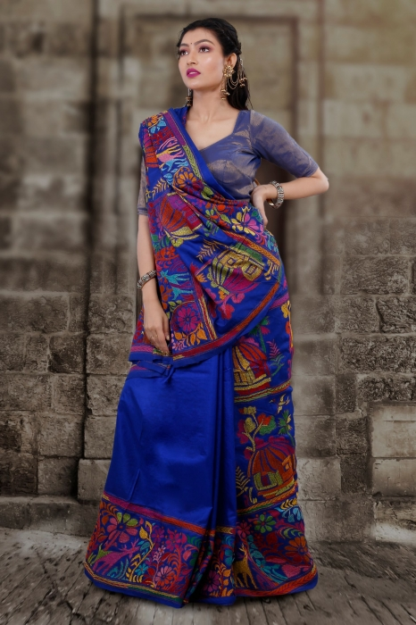 Pure Banglore Silk Royel Blue Kantha Stitched Saree 1