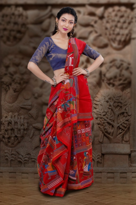 Red Colour Pure Banglore Silk Kantha Stitched Saree