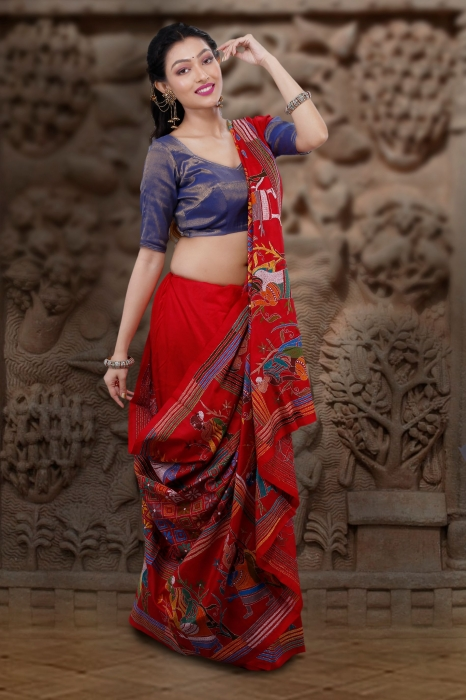 Red Colour Pure Banglore Silk Kantha Stitched Saree 1
