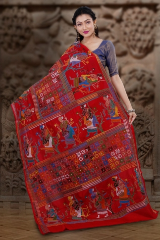 Red Colour Pure Banglore Silk Kantha Stitched Saree 2