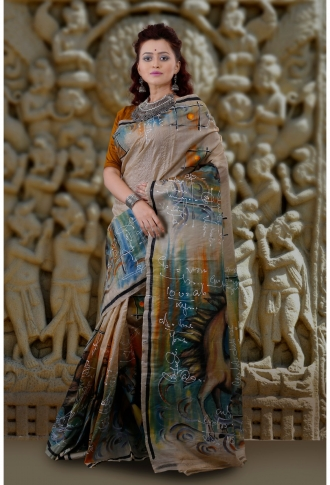 Bengal Handloom Pure Tussar Silk Hand Paint Saree