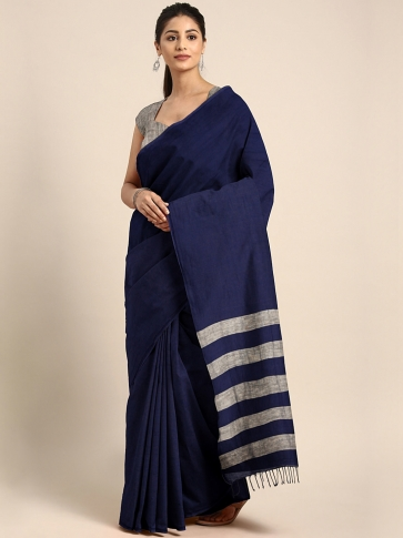 Blue Handloom Cotton Saree With Stripes