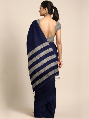 Blue Handloom Cotton Saree With Stripes 1