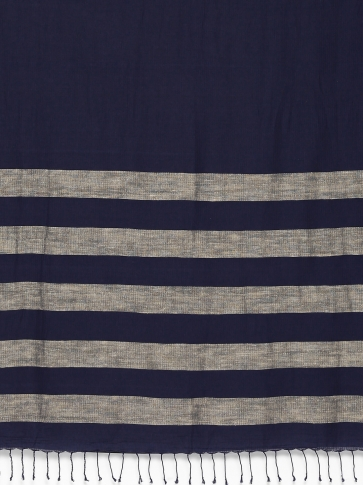 Blue Handloom Cotton Saree With Stripes 2