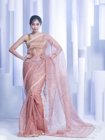 Multicolor Hand woven Silk Cotton Saree with tested zari