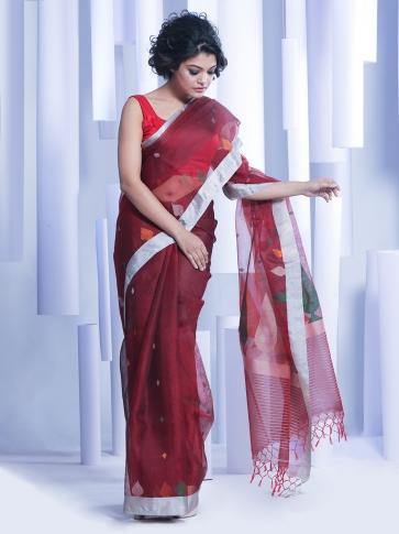 Maroon Hand woven Silk Saree With Woven Pallu 0
