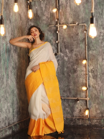 White Hand woven Linen Saree With Yellow Border 0