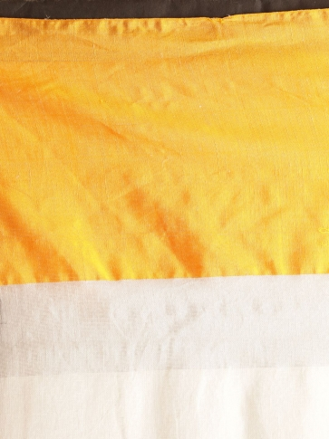 White Hand woven Linen Saree With Yellow Border 2