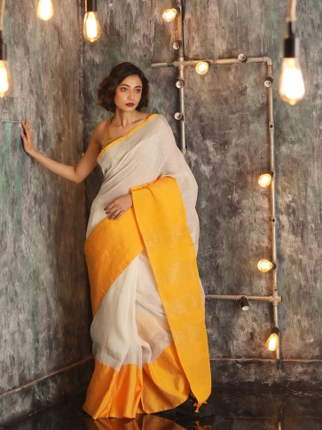 White Hand woven Linen Saree With Yellow Border