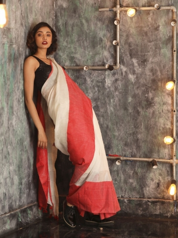 White Hand woven Linen Saree With Red Border 0