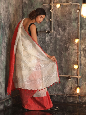 White Hand woven Linen Saree With Red Border 1