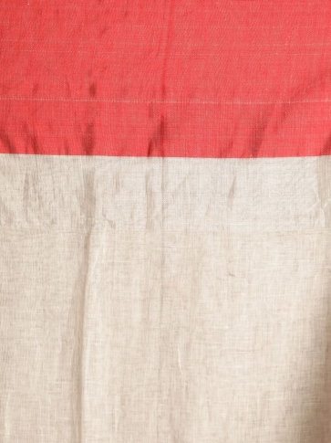 White Hand woven Linen Saree With Red Border 2
