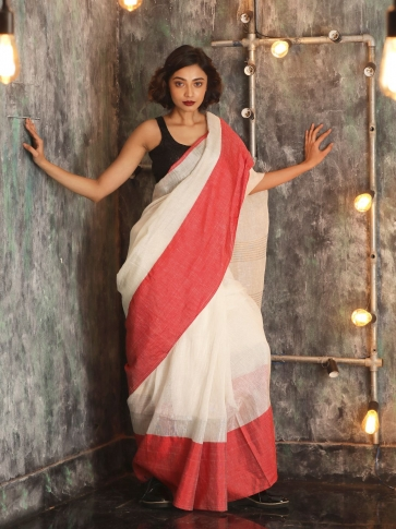 White Hand woven Linen Saree With Red Border