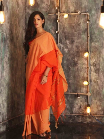 Orange Hand woven Blended Cotton Saree With Broad Border 0