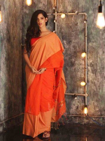 Orange Hand woven Blended Cotton Saree With Broad Border