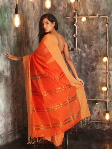 Orange Hand woven Blended Cotton Saree With Broad Border 1