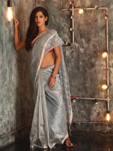 Ash Hand woven Cotton Handspun Saree