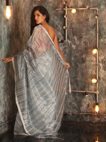 Ash Hand woven Cotton Handspun Saree 1