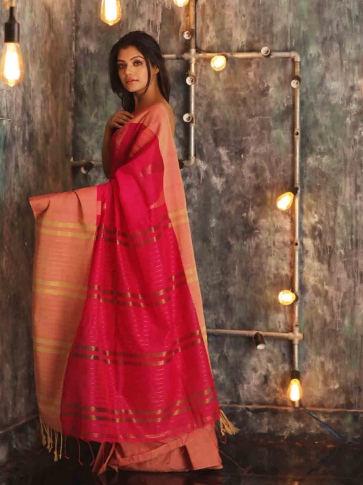 Fuchsia Hand woven Blended Cotton Saree With Broad Border 1