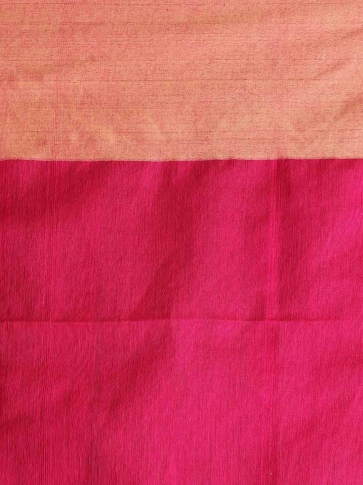 Fuchsia Hand woven Blended Cotton Saree With Broad Border 2