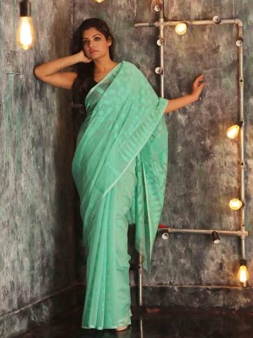 Electric Blue Hand woven  Jamdani Saree With Woven Design