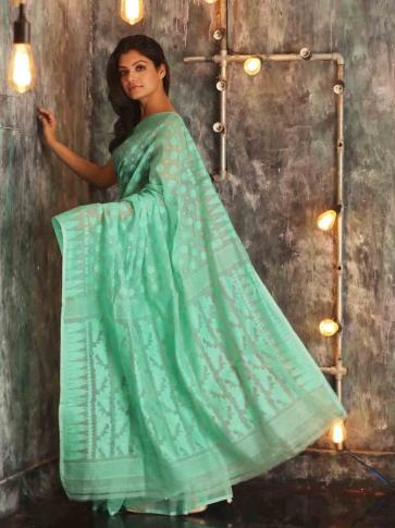 Electric Blue Hand woven  Jamdani Saree With Woven Design 1