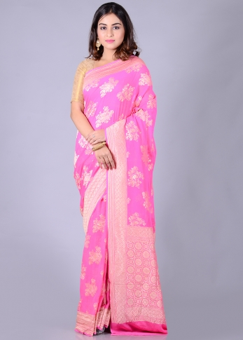 Pure Chiffon Silk Pink Hand Woven With Zari Work