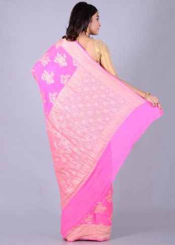 Pure Chiffon Silk Pink Hand Woven With Zari Work 1