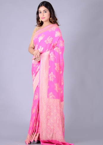 Pure Chiffon Silk Pink Hand Woven With Zari Work 2
