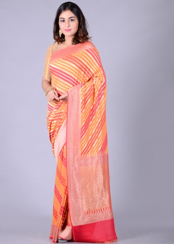 Pure Chiffon Silk Pink Orange Hand Woven