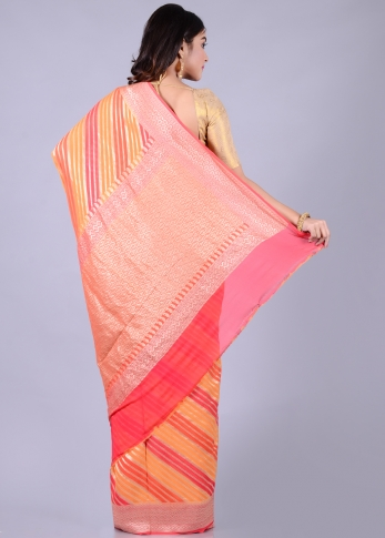 Pure Chiffon Silk Pink Orange Hand Woven 2