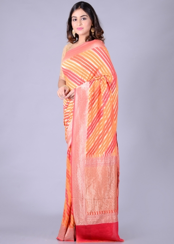 Pure Chiffon Silk Pink Orange Hand Woven 1