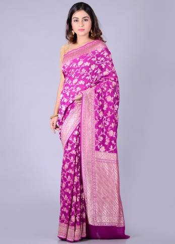 Pure Purple Silk Magenta Hand Woven