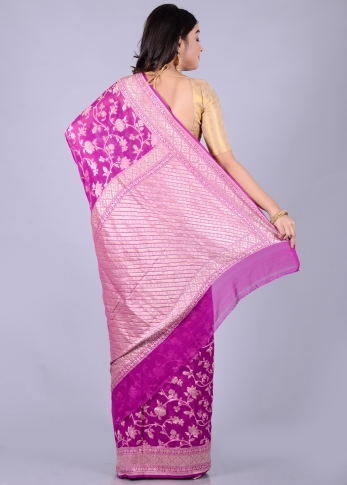 Pure Purple Silk Magenta Hand Woven 2
