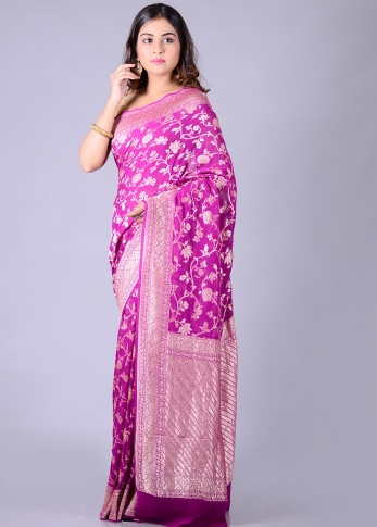 Pure Purple Silk Magenta Hand Woven 1