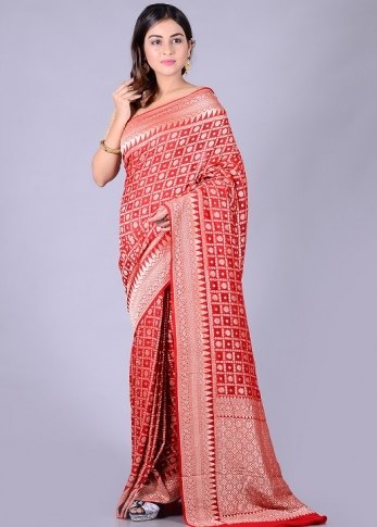 Pure Red Silk Red Hand Woven