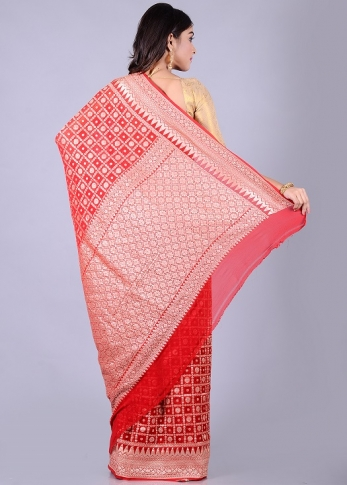 Pure Red Silk Red Hand Woven 2