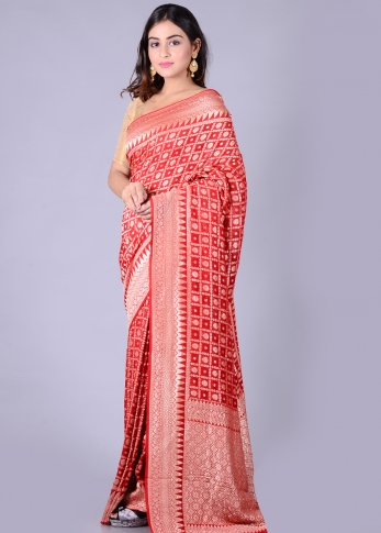 Pure Red Silk Red Hand Woven 1