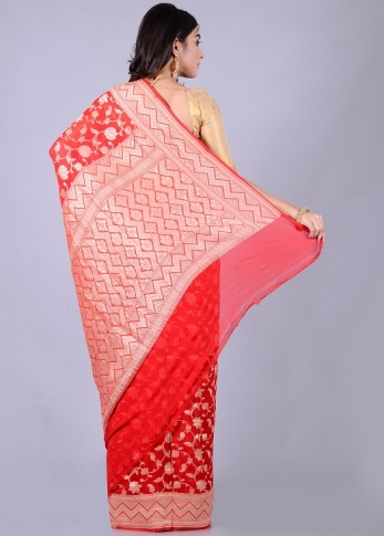 Pure Chiffon Silk Red Hand Woven With Zari Work 2