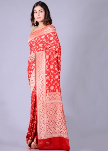 Pure Chiffon Silk Red Hand Woven With Zari Work 1
