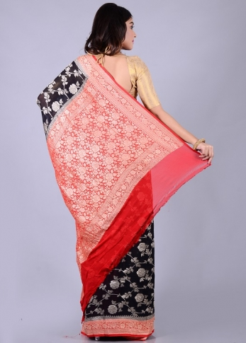 Pure Chiffon Silk Black Red Hand Woven 2