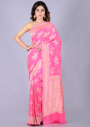 Pure Chiffon Silk Pink Hand Woven Saree With Zari Work