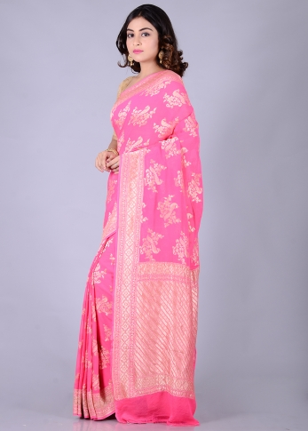 Pure Chiffon Silk Pink Hand Woven Saree With Zari Work 1